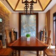 东南亚风格别墅室内餐厅吊顶设计装修效果图