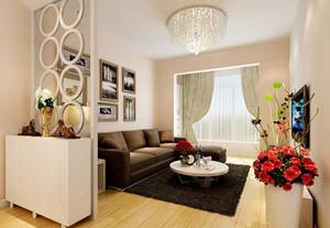 90平米现代简约风格精美客厅吊灯装修效果图