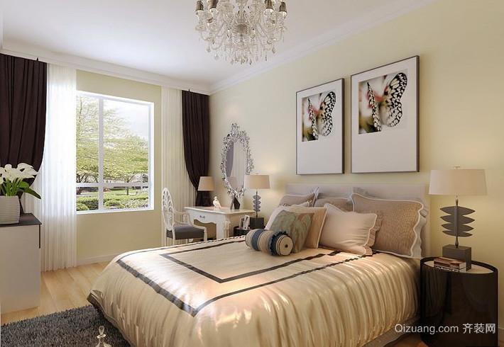 简欧风格大户型主卧室窗帘设计装修效果图