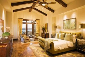 大户型复古美式风格卧室吊顶装修效果图
