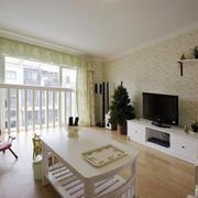 现代田园风格客厅窗帘设计装修效果图赏析