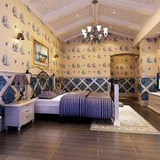 26平米地中海风格住卧室吊顶装修效果图