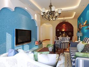 地中海风格精致客厅吊顶设计效果图大全