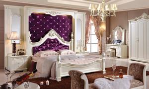 法式风格奢华别墅卧室背景墙装修效果图