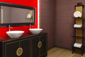 现代中式风格卫生间洗漱台设计效果图