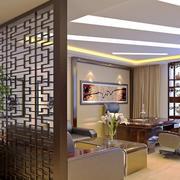 现代中式大户型客厅镂空隔断设计装修效果图