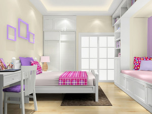 12平米简欧风格女生儿童房卧室装修效果图赏析