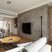 现代极简主义风格客厅大理石电视背景墙装修效果图
