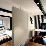现代简约风格客厅实木隔断设计装修效果图