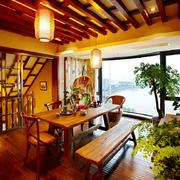 东南亚风格复式楼餐厅吊顶设计效果图