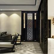 现代中式风格精致客厅屏风隔断设计效果图