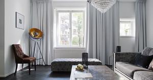 80平米北欧风格客厅窗帘设计装修效果图