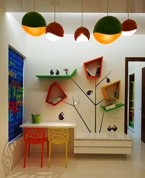 时尚清新120平米家居儿童房书桌效果图