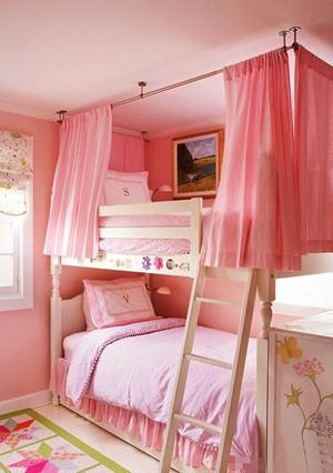 9平米欧式风格粉色女生儿童房设计装修效果图