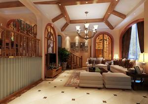 大户型美式风格客厅吊顶设计装修效果图大全