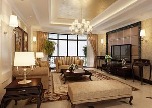 116平米欧式风格精致客厅窗帘设计装修效果图