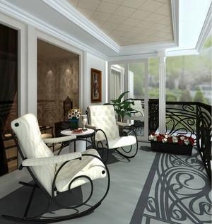 简欧风格别墅半封闭式阳台设计装修效果图