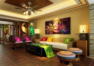 东南亚风格精致奢华客厅背景墙效果图