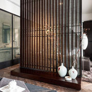 现代中式时尚混搭卧室镂空隔断设计效果图