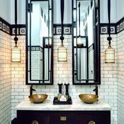 创意后现代混搭中式风格卫生间吊灯装修效果图