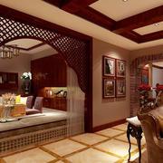 美式风格别墅客厅榻榻米装修效果图鉴赏