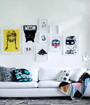 100平米北欧风格客厅沙发照片墙效果图
