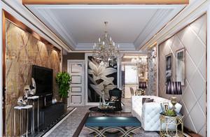 120平米简欧风格客厅墙纸效果图赏析