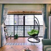 90平米美式风格客厅阳台装修效果图赏析
