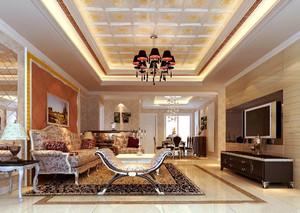 欧式风格别墅客厅天花设计装修效果图赏析