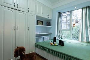 田园抹茶绿阁楼卧室飘窗装修设计效果图
