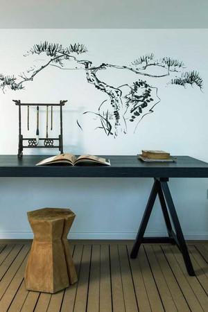 中式风格小户型书房手绘墙装修效果图鉴赏