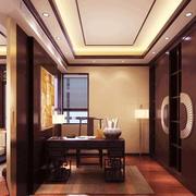 新中式风格大户型客厅书房隔断设计效果图