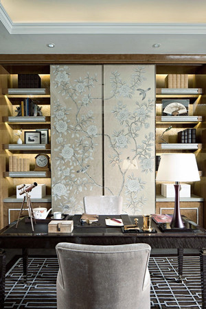 新中式风格别墅书房装修设计效果图赏析