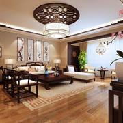 120平米中式风格仿古客厅天花装修效果图