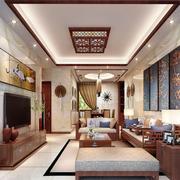 105平米中式风格客厅挂画效果图赏析
