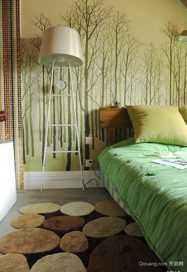 80平米都市小清新风格卧室背景墙效果图鉴赏