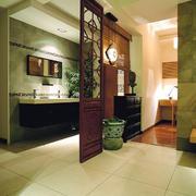 现代中式风格三居室卫生间隔断设计效果图赏析