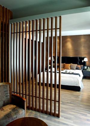 120平米现代中式风格卧室隔断设计效果图赏析