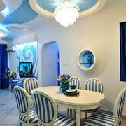 地中海风格三居室餐厅吊顶装修效果图