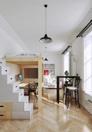 现代极简主义风格单身公寓室内装修效果图赏析