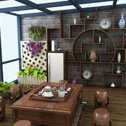 中式风格大户型书房博古架设计效果图赏析