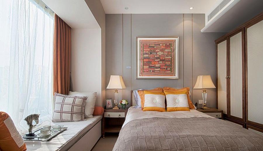 7平米现代简约风格卧室带飘窗设计效果图