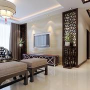 现代中式风格客厅电视背景墙装修效果图