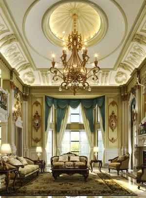 法式风格精致奢华别墅客厅吊顶设计装修效果图
