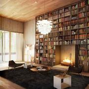 现代简约风格大户型开放式客厅书房装修效果图