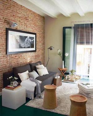 都市简约简约风格小户型客厅沙发背景墙效果图