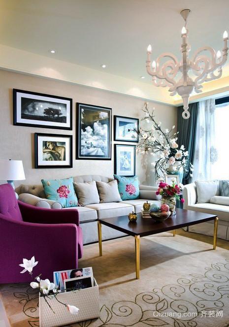 15平米简欧风格精致小客厅吊灯设计效果图
