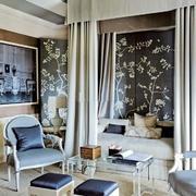 6平米简欧风格女生卧室背景墙装修效果图