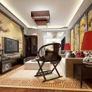 15平米新中式风格创意客厅壁画装修效果图