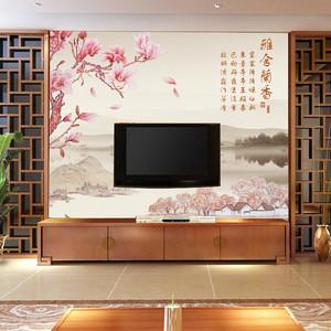 新中式风格客厅电视屏风背景墙设计装修效果图
